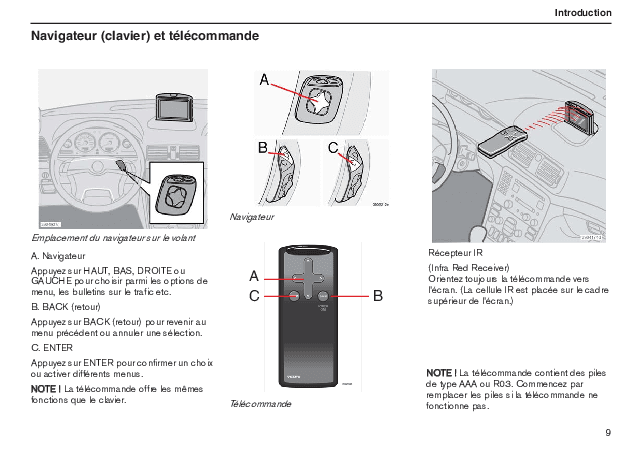 Volvo S60 Road and Traffic Information System (RTI) Notice d'Utilisation