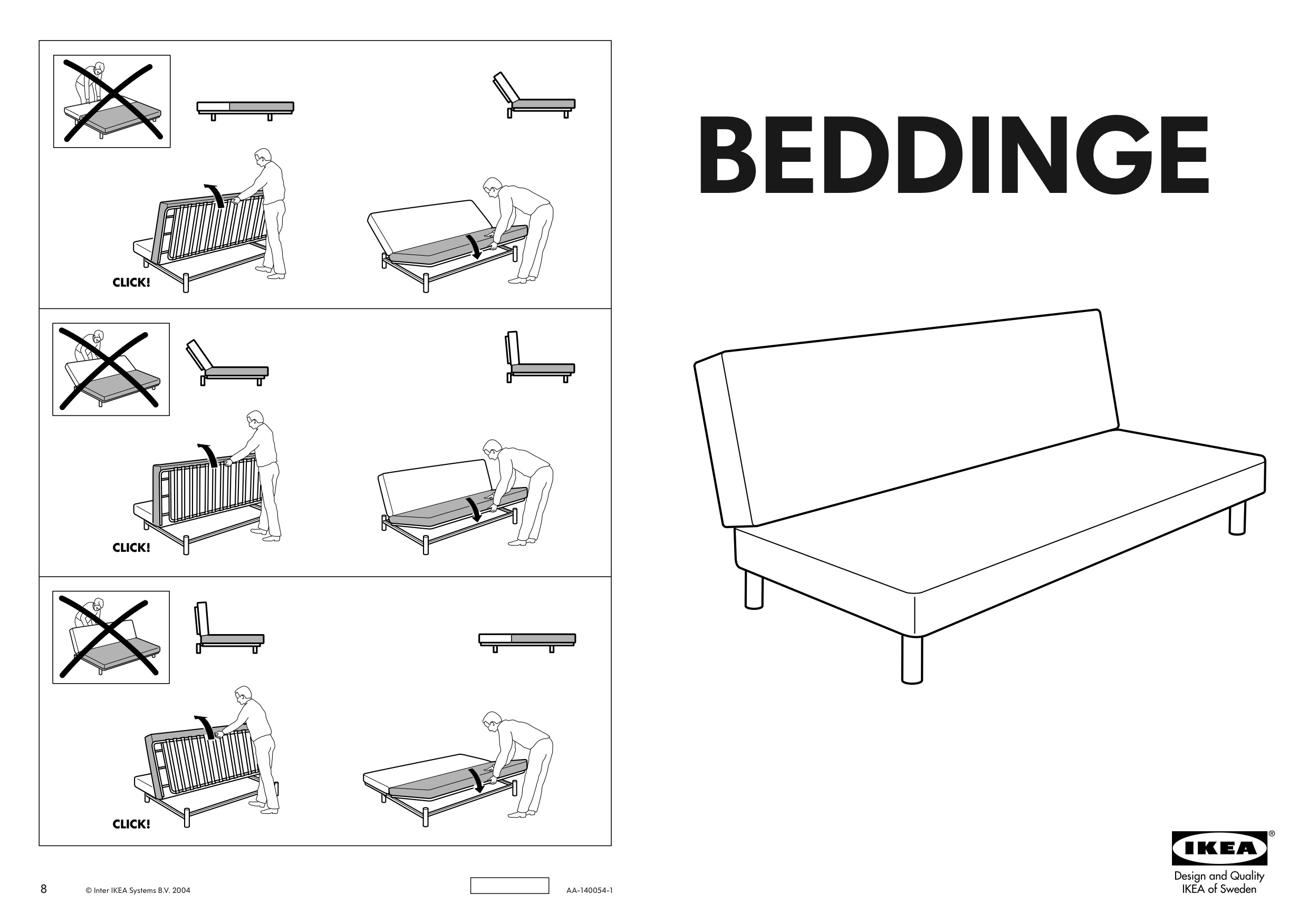 handleiding ikea beddinge slaapbank. Black Bedroom Furniture Sets. Home Design Ideas